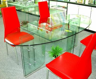 楕円形ガラステーブル