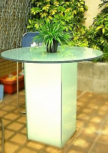 円形ガラステーブル(乳白)