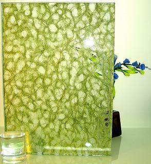 和紙合わせガラス モスグリーン